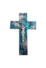 """10"""" Blue & Silver Shimmering Silver Glass Crucifix with Genuine Pewter Corpus"""