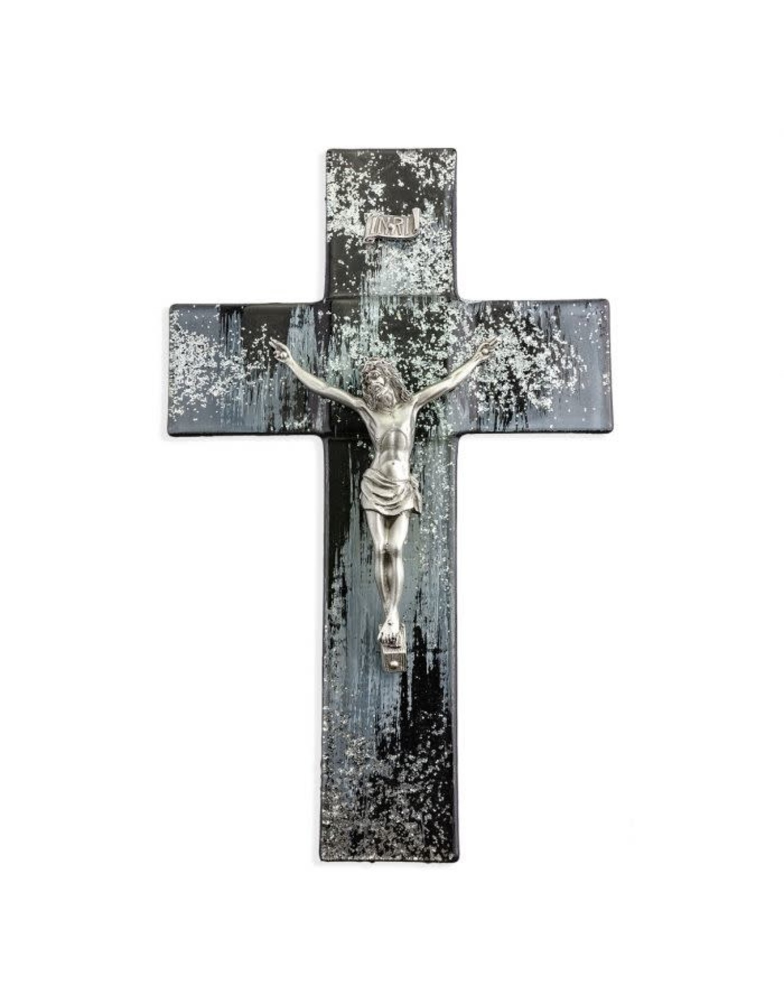 """10"""" Black & Silver Shimmering Silver Glass Crucifix with Silver Crucifix"""