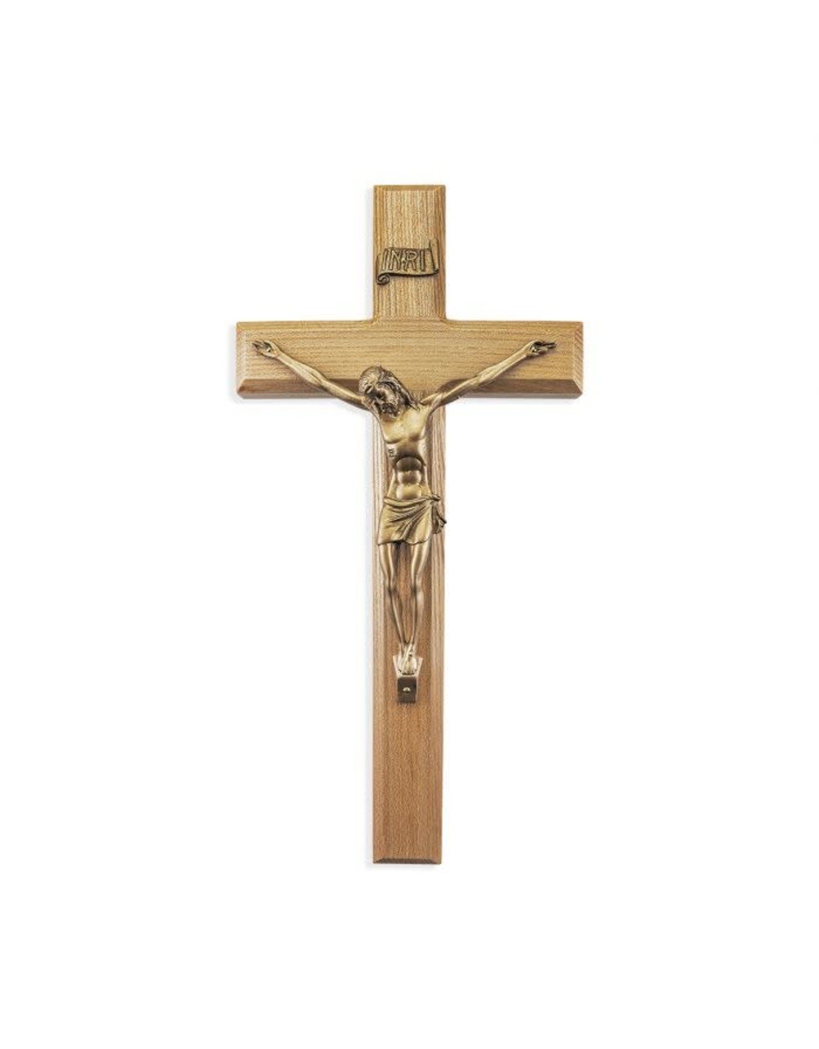 """12"""" Oak Wood Crucifix with Museum Gold Plated Corpus"""