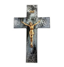 """10"""" Black & Silver Shimmering Silver Glass Crucifix with Gold Corpus"""