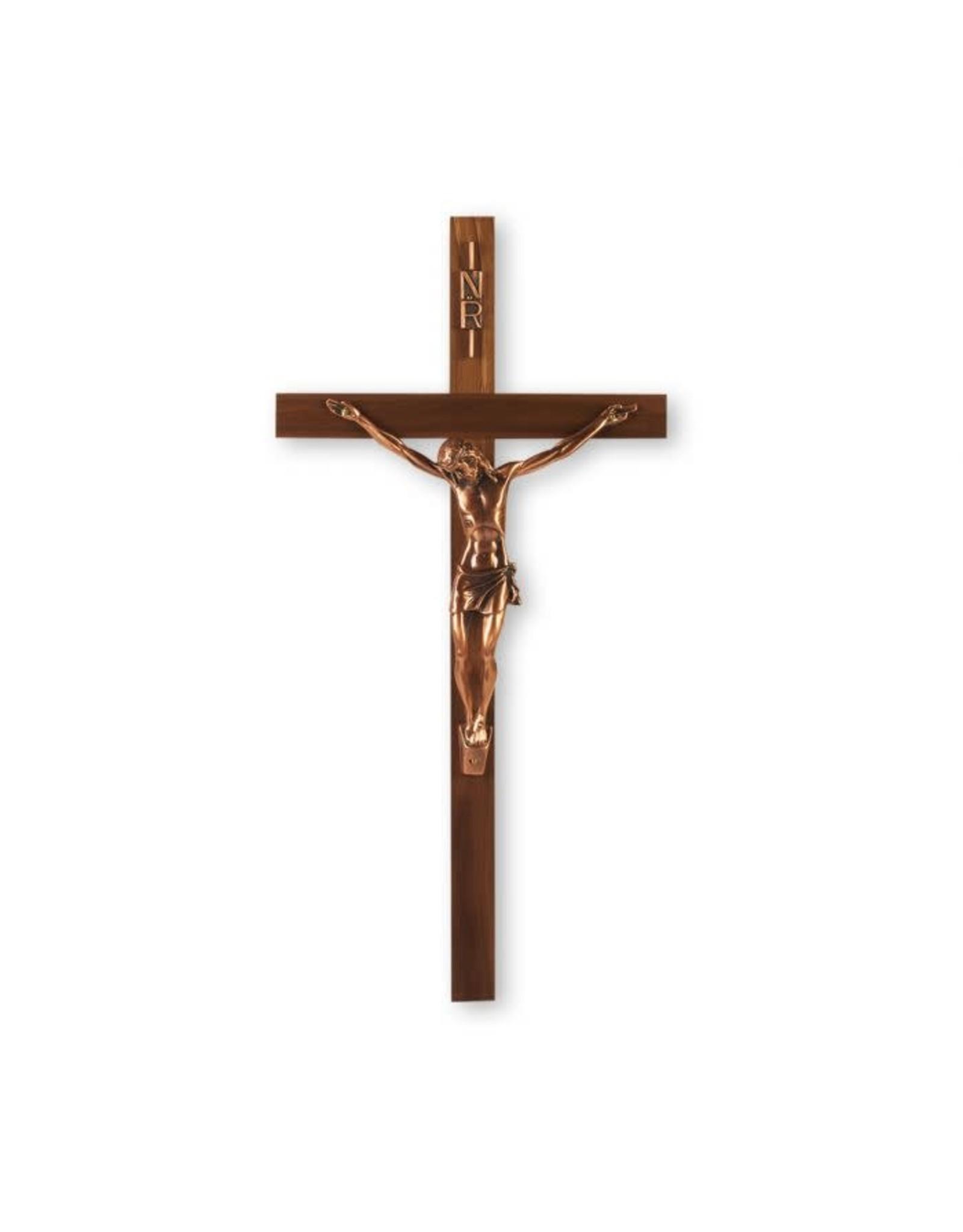 "13"" Walnut Wood Crucifix with Antique Copper Corpus"
