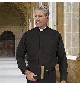 Black Clergy Shirt - Roman Collar - Long Sleeve - Size