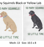 Canvas YELLOW LAB…SO MANY SQUIRRELS  P107