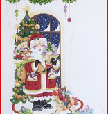 Canvas SANTA WITH ROCKING HORSE AND TOYS  CS368
