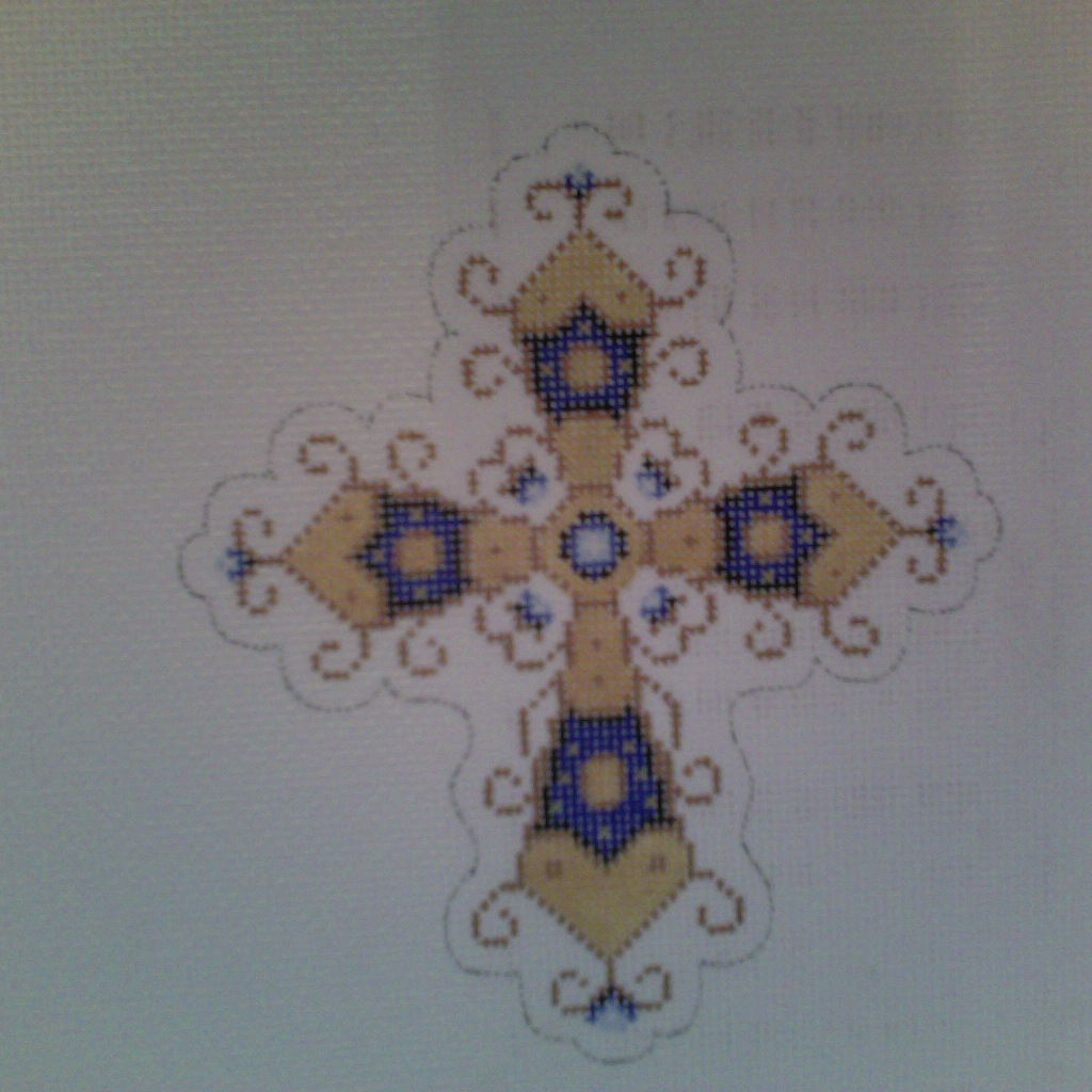 Canvas BLUE AND GOLD CROSS  1877