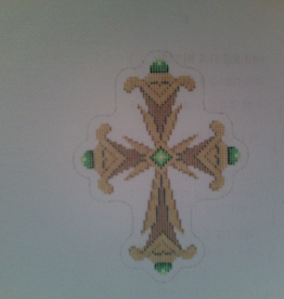 Canvas COPPER GREEN AND GOLD CROSS  2640