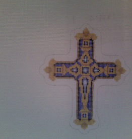 Canvas BLUE AND GOLD CROSS  2644