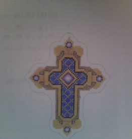 Canvas BLUE PURPLE AND GOLD CROSS  2641