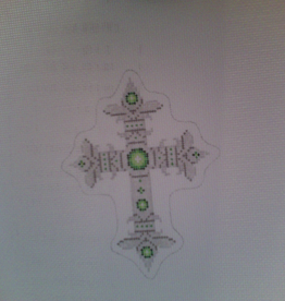 Canvas SILVER AND GREEN CROSS  2641