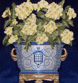 Canvas WHITE FLOWERS CACHE POT  DL204