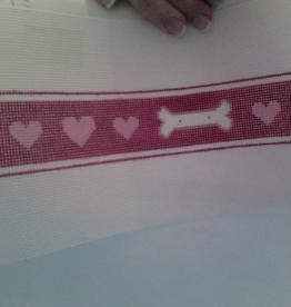 Canvas BONES AND HEARTS DOG COLLAR  P621