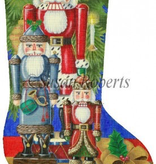 Canvas SANTA NUTCRACKERS STOCKING  TTAXS244