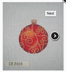 Canvas CHRISTMAS BALL RED WITH GOLD SCROLL  CH303D