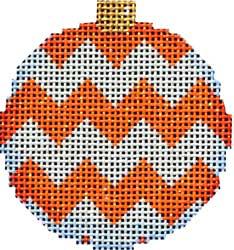 Canvas ORANGE/WHITE CHEVRON BALL  ORNAMENT  EE1252OW