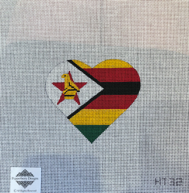 Canvas ZIMBABWE FLAG HEART  HT32