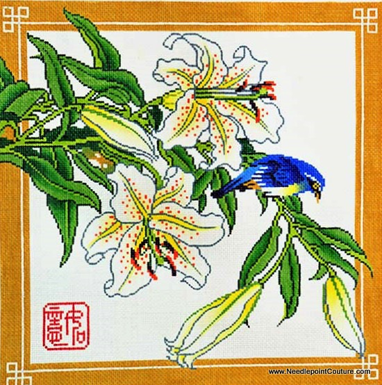 Canvas LILLIES WITH BIRD  P1225
