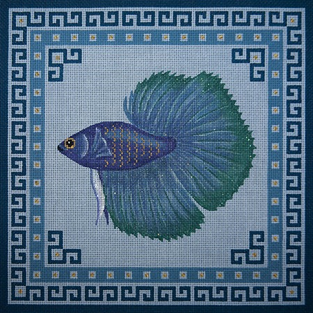 Canvas TURQUOISE & BLUE FIGHTING FISH  O046