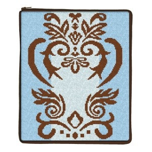 Canvas DAMASK STITCH AND ZIP IPAD COVER SZ709