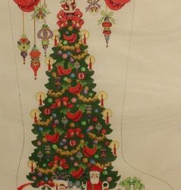 Canvas CHRISTAMS TREE WITH SANTAS  CS143