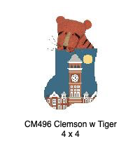 Canvas CLEMSON TILLMAN HALL WITH TIGER  CM496