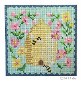Canvas BEE SKEP - PINK FLOWERS  KB1518