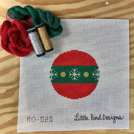 Canvas RED WITH GREEN BAND ROUND  RO020