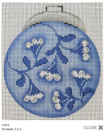 Canvas BLUE AND WHITE FLOWERS ORNAMENT  11814