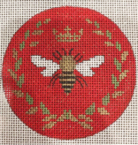 Canvas QUEEN BEE ROUND  ON RED  FS26C