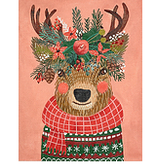 Canvas CHRISTMAS SQUAD DEER ON CORAL  MIACPL2