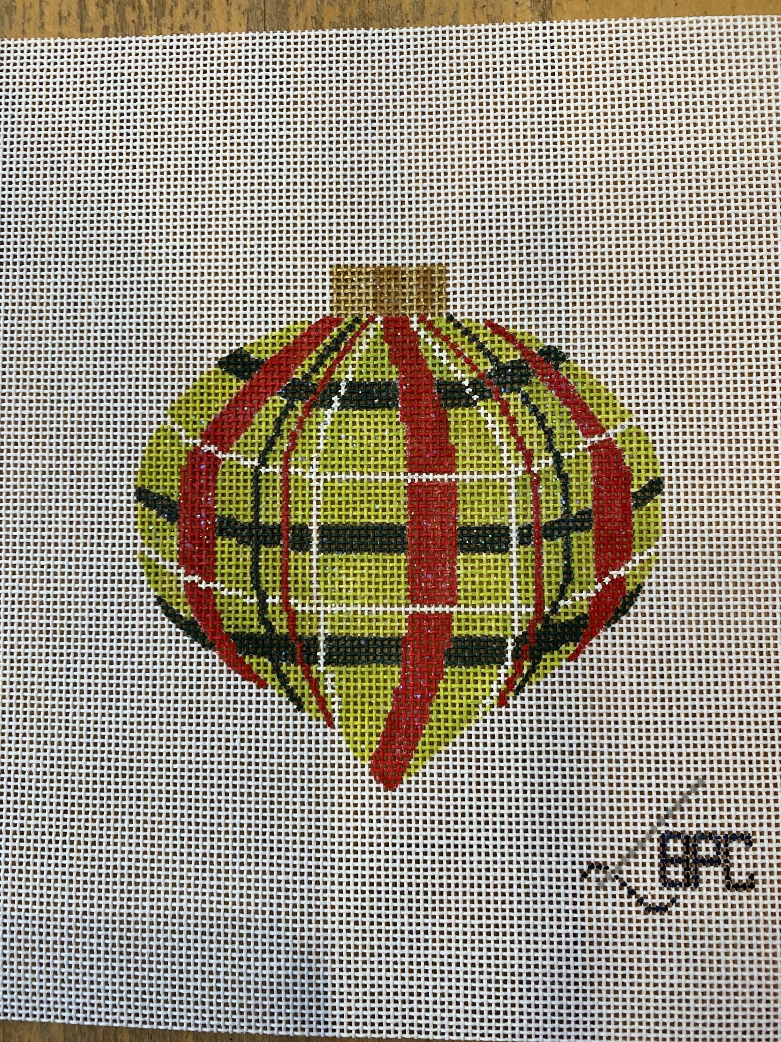 Canvas RED AND GREEN PLAID ORNAMENT
