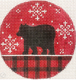 Canvas BEAR ON RED PLAID ROUND  X474