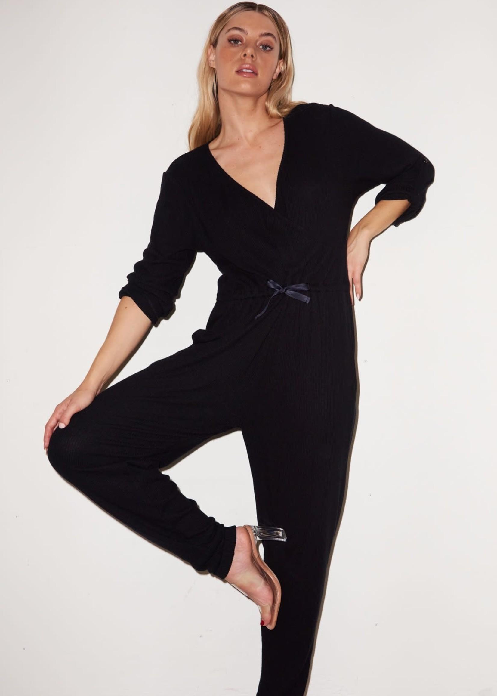LNA Cass Cozy Jumpsuit Black