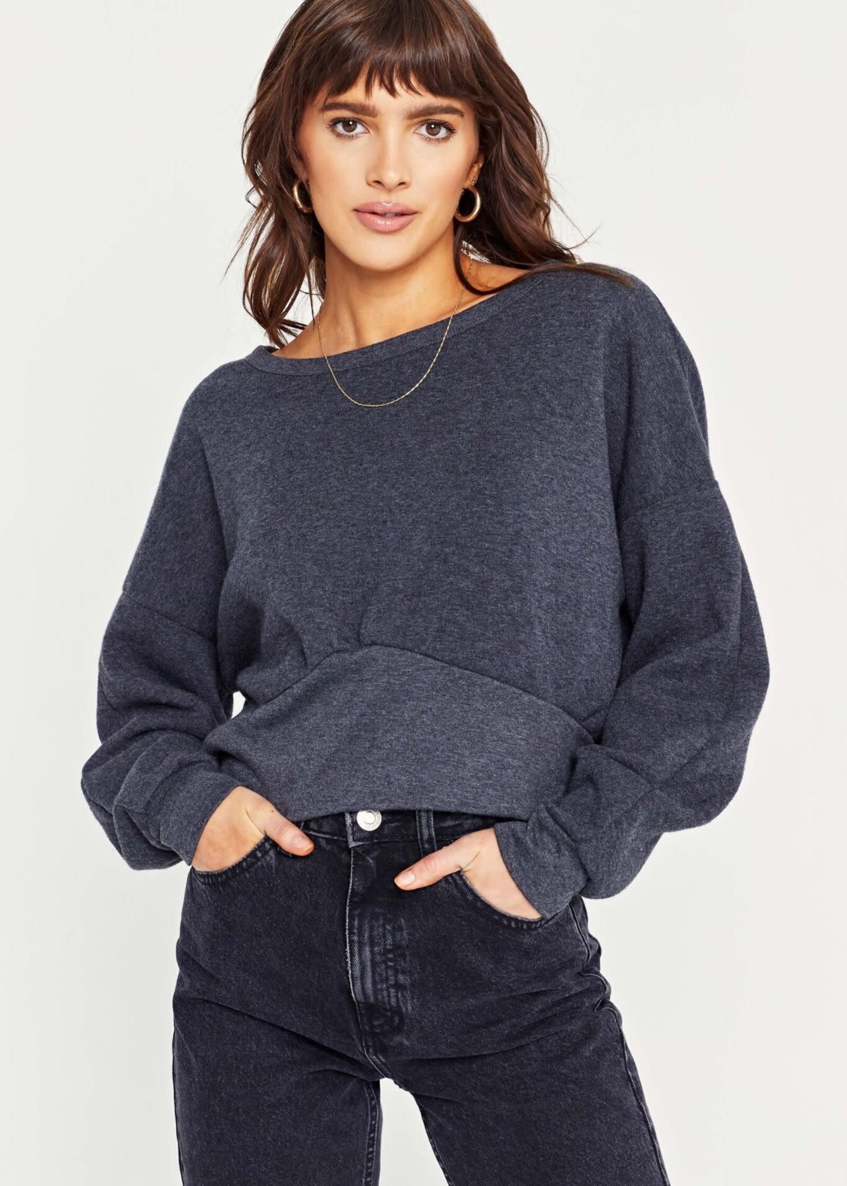 Shirred Boxy Sweater Charcoal