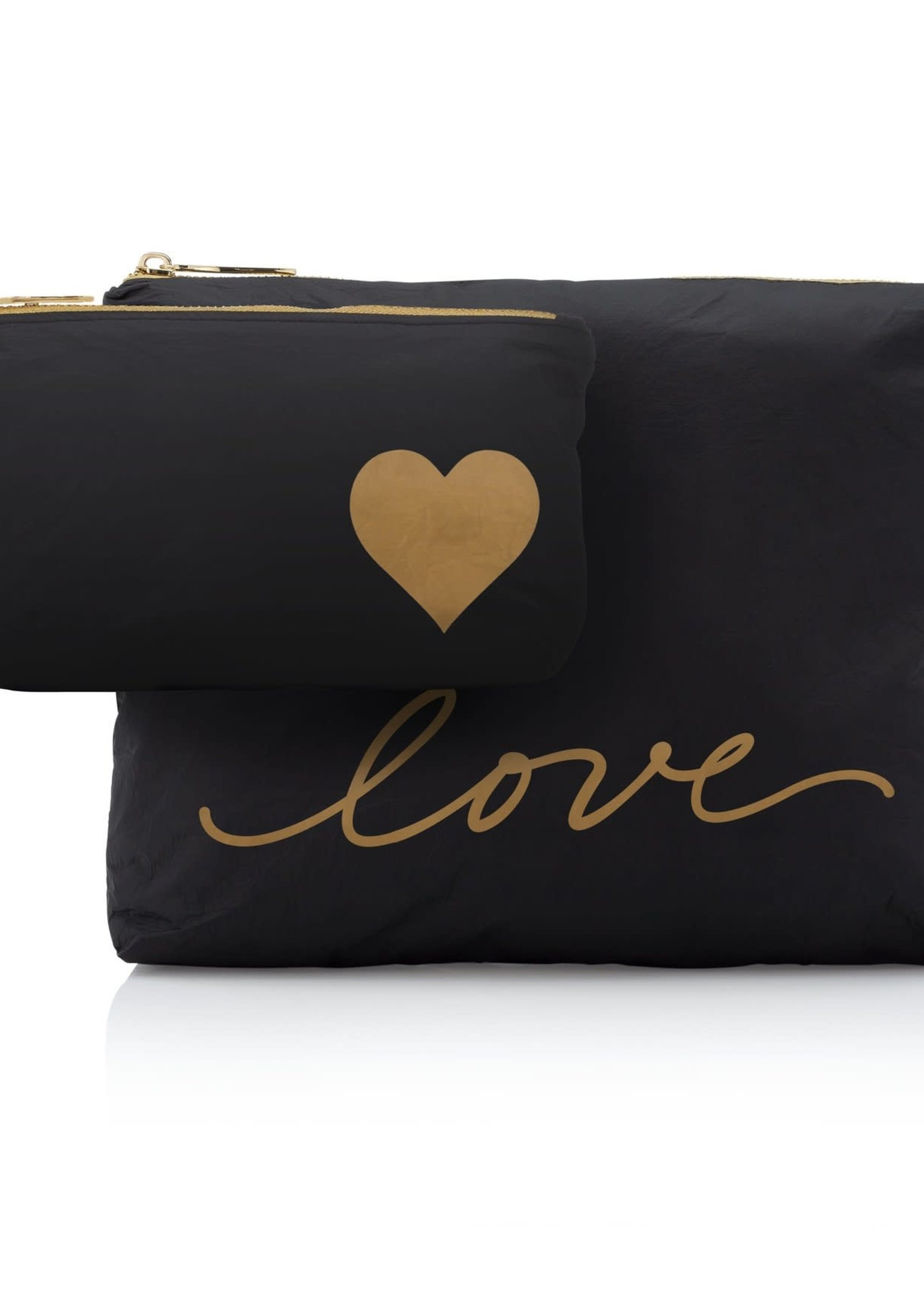 Set of Two Black Gold Love