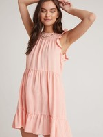 Bella Dahl Ruffle Sleeve Tiered Dress Coral
