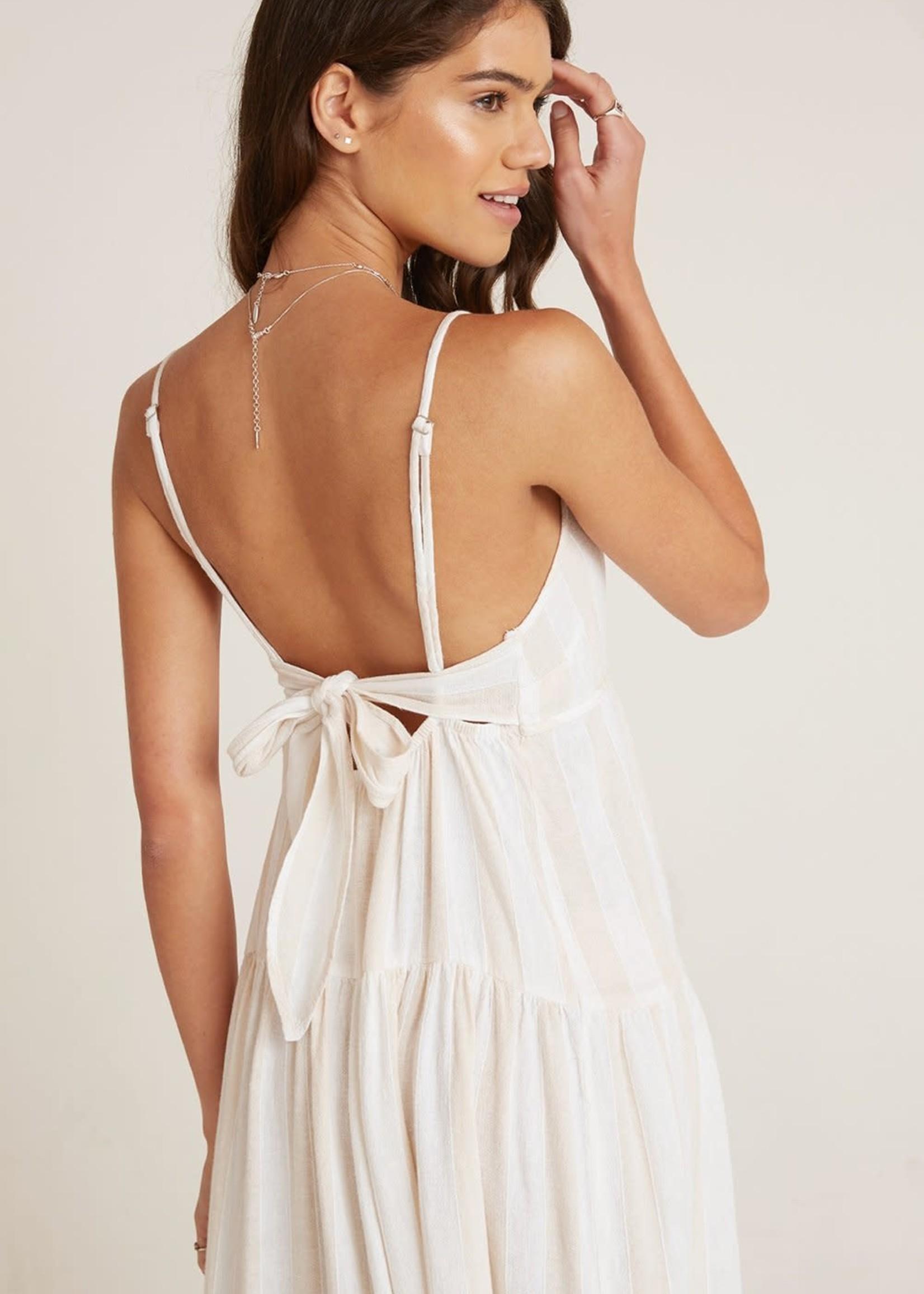 Bella Dahl Tiered Tie Back Maxi Dress Sand