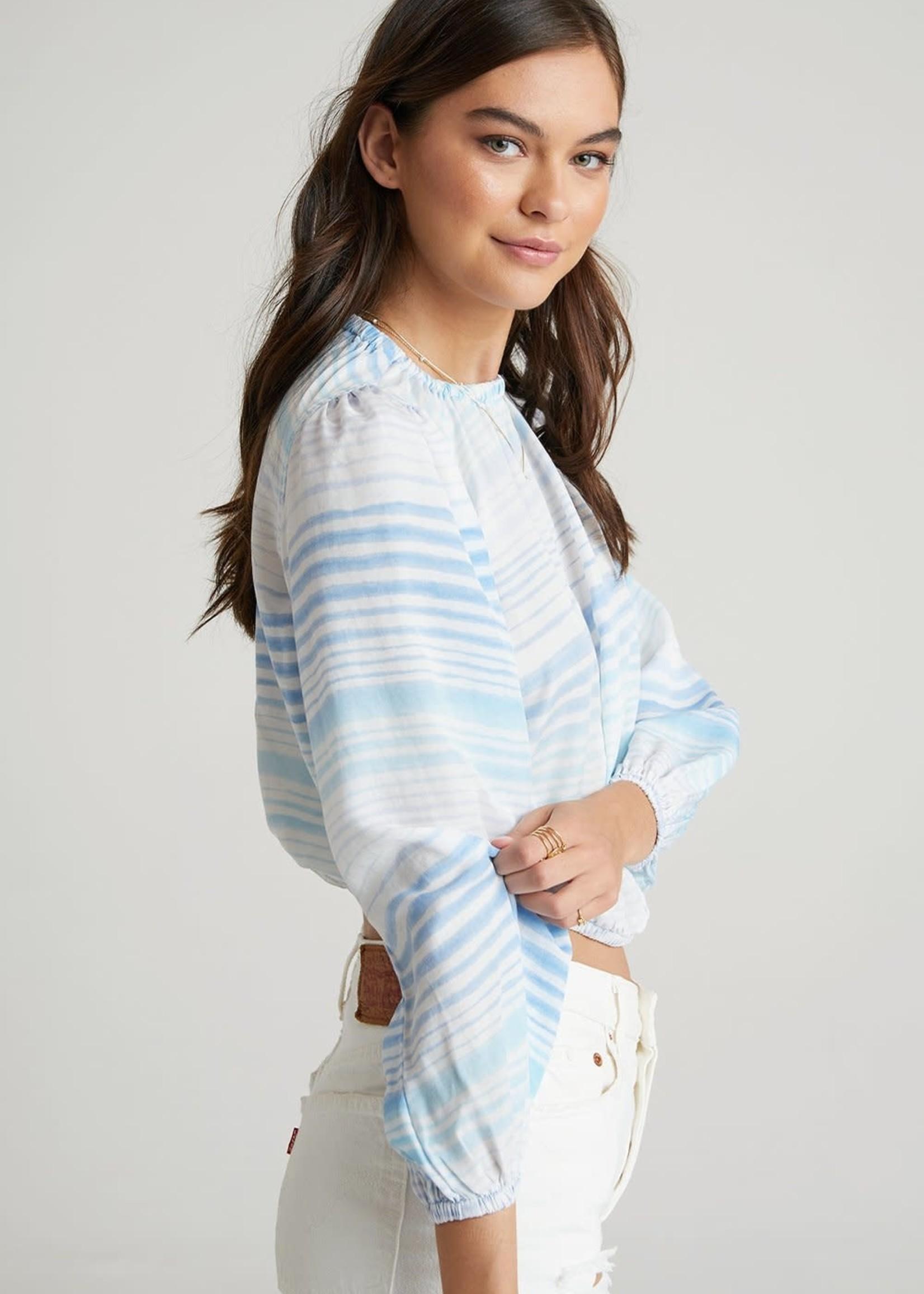 Bella Dahl Ombrè Blue Stripe Elastic Top