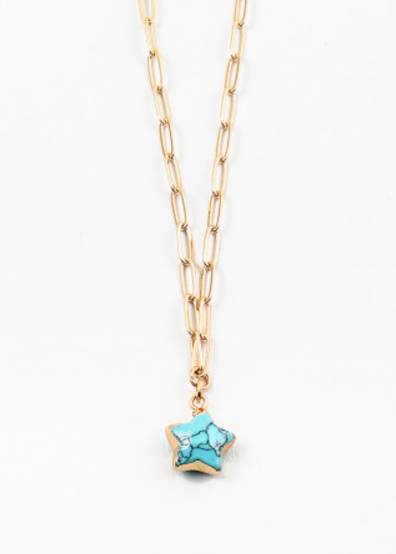 Turq Star Gold Paperclip Necklace