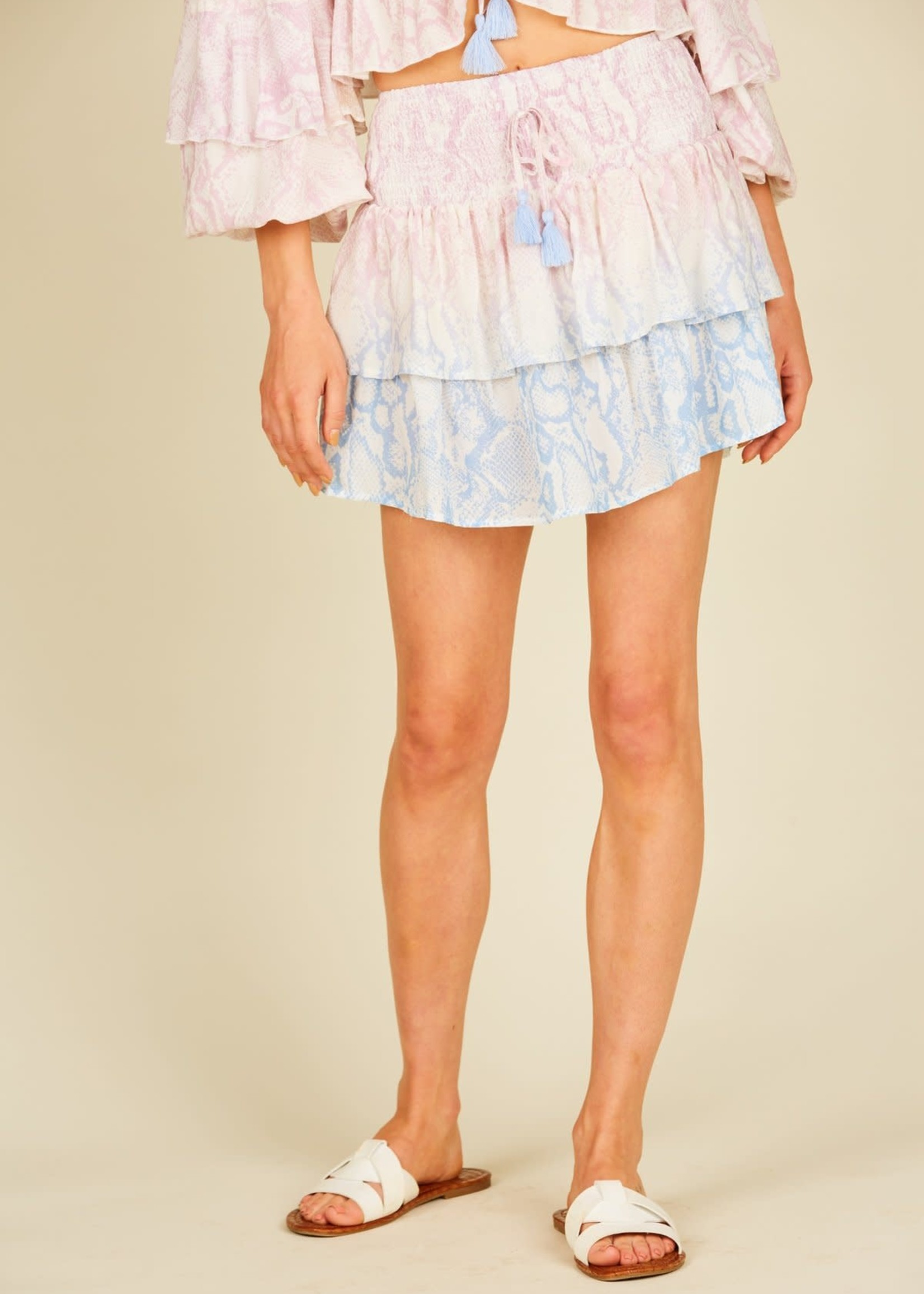 Surf Gypsy Ombrè Snakeskin Ruffle Mini Skirt