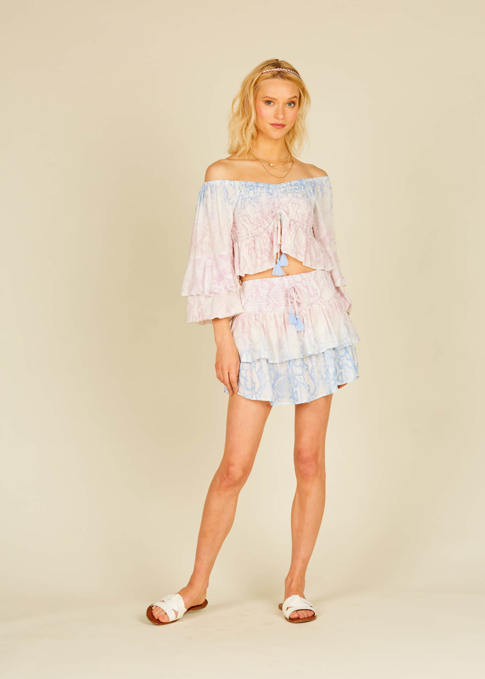 Surf Gypsy Ombrè Snakeskin Rouched Ruffle Top