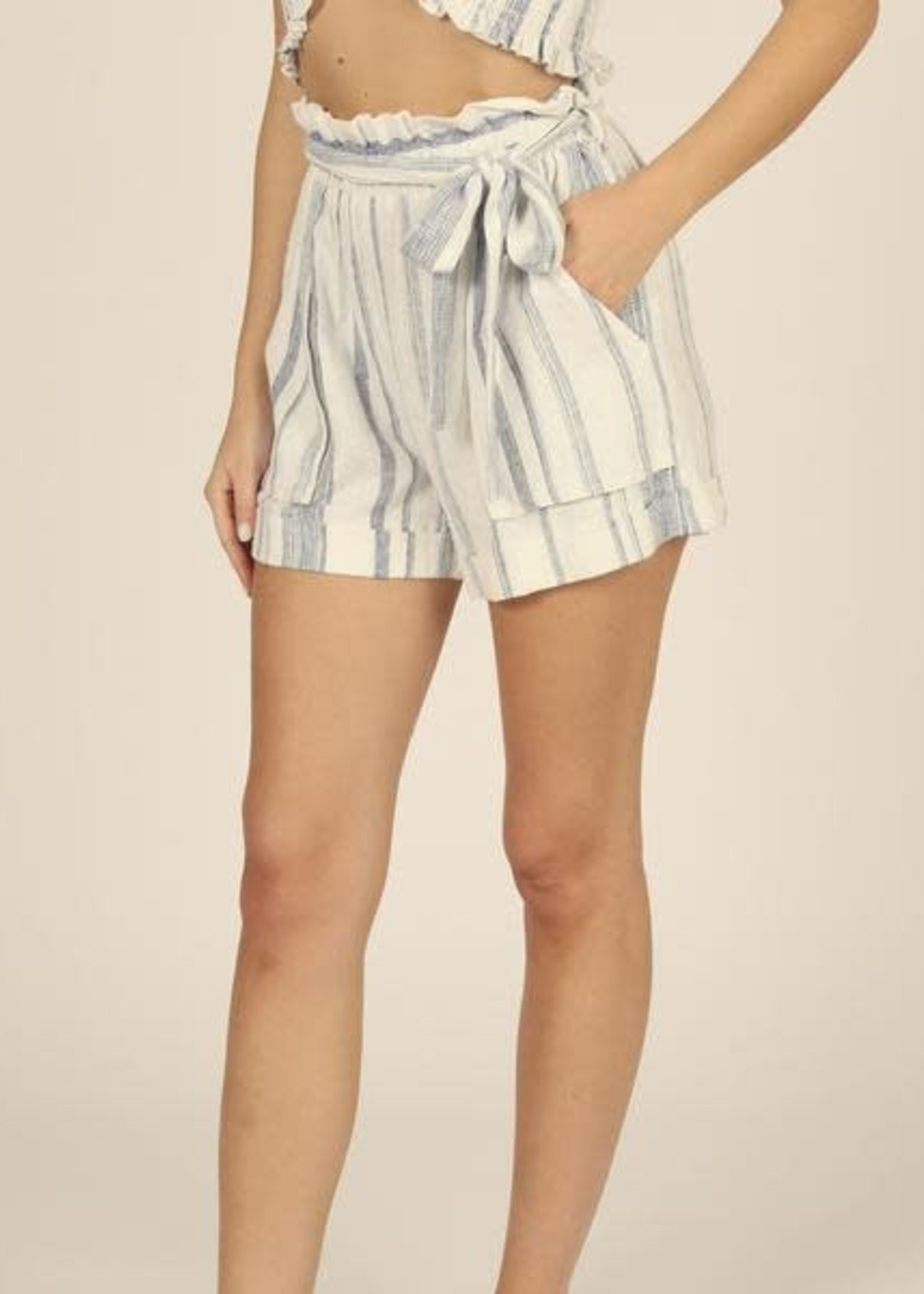 Vintage Havana Sailor Stripe Linen Paper Bag Waist Short