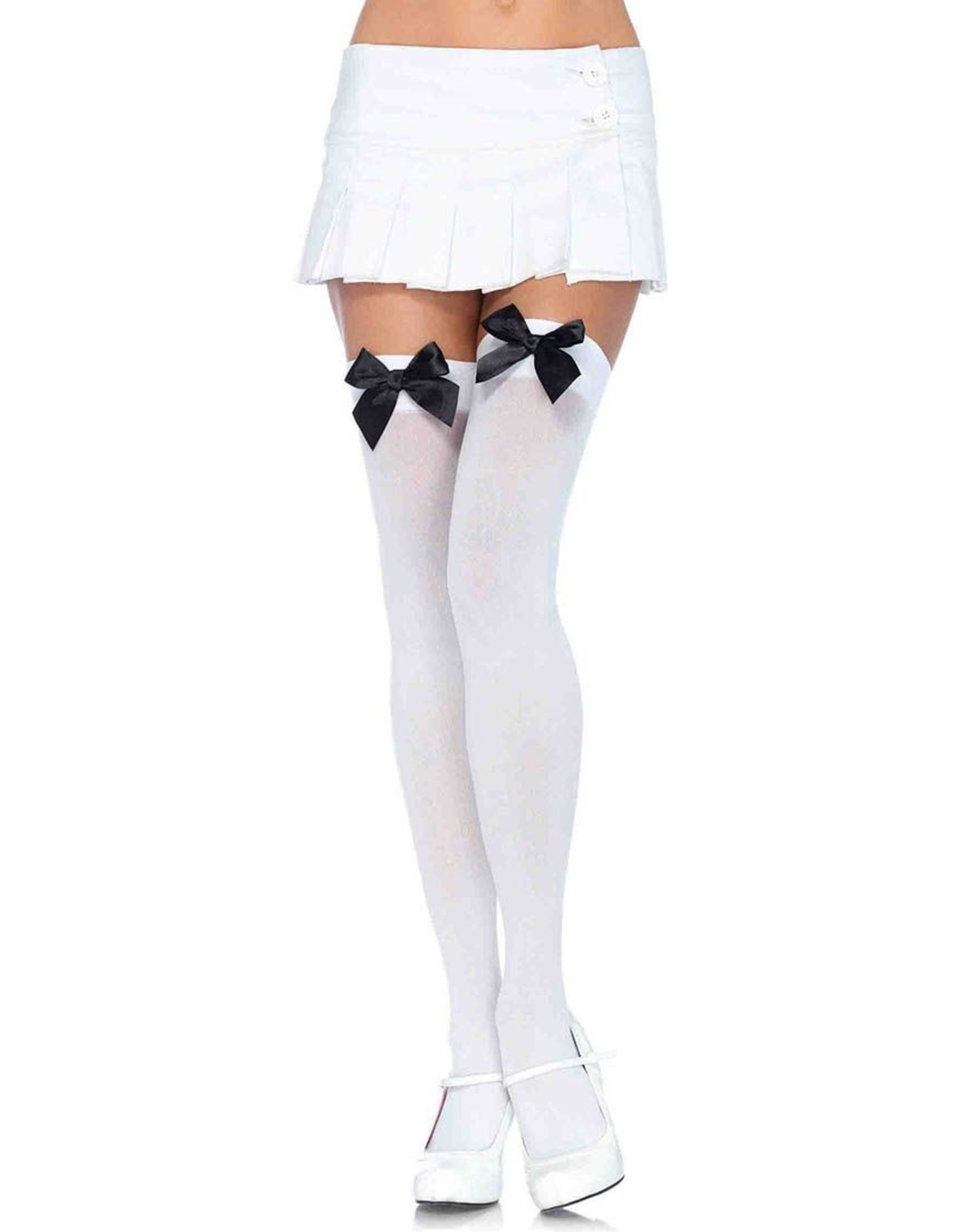 Thigh Highs  Black with Satin White Bow