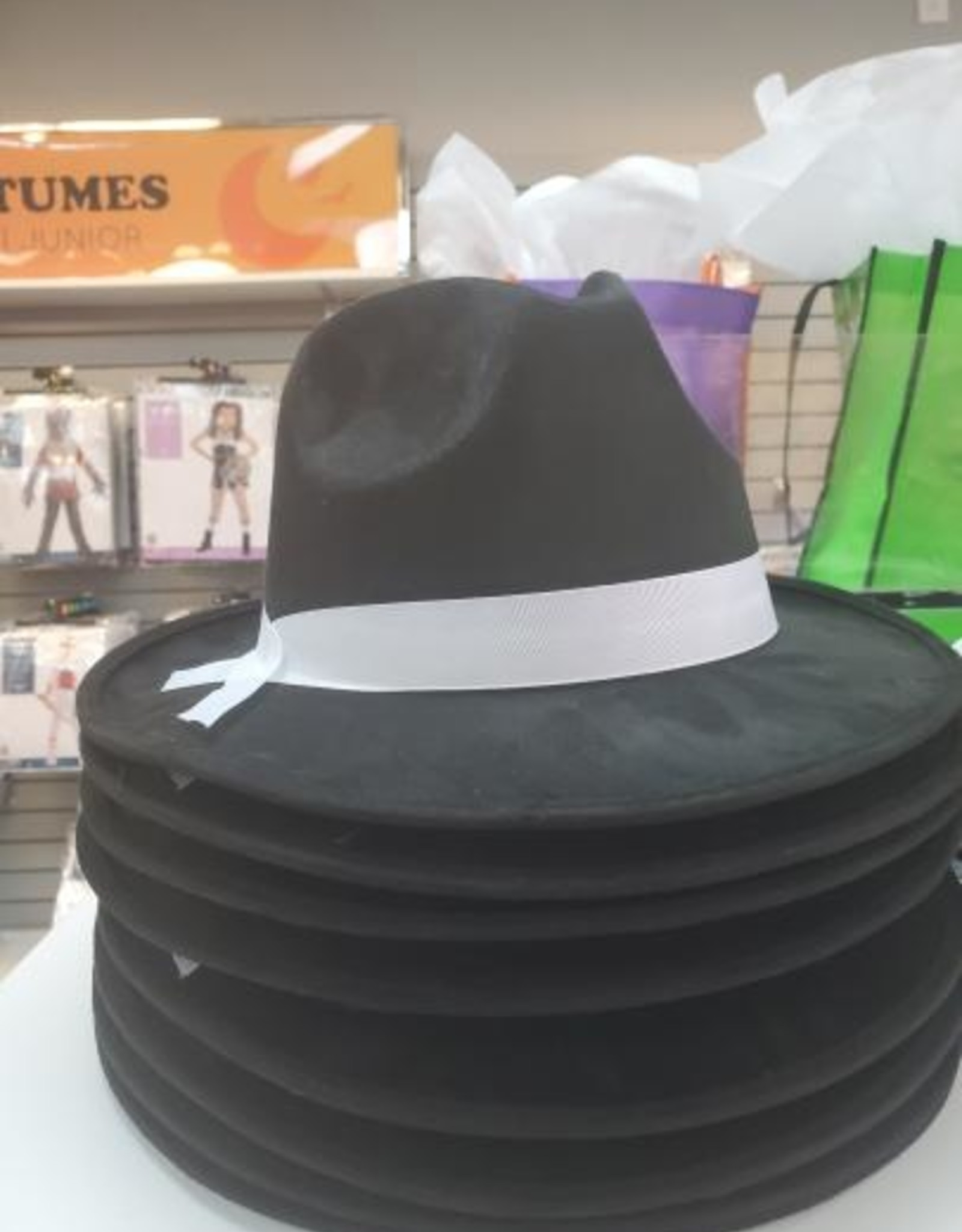 Black Gangster Hat w/ White Ribbon