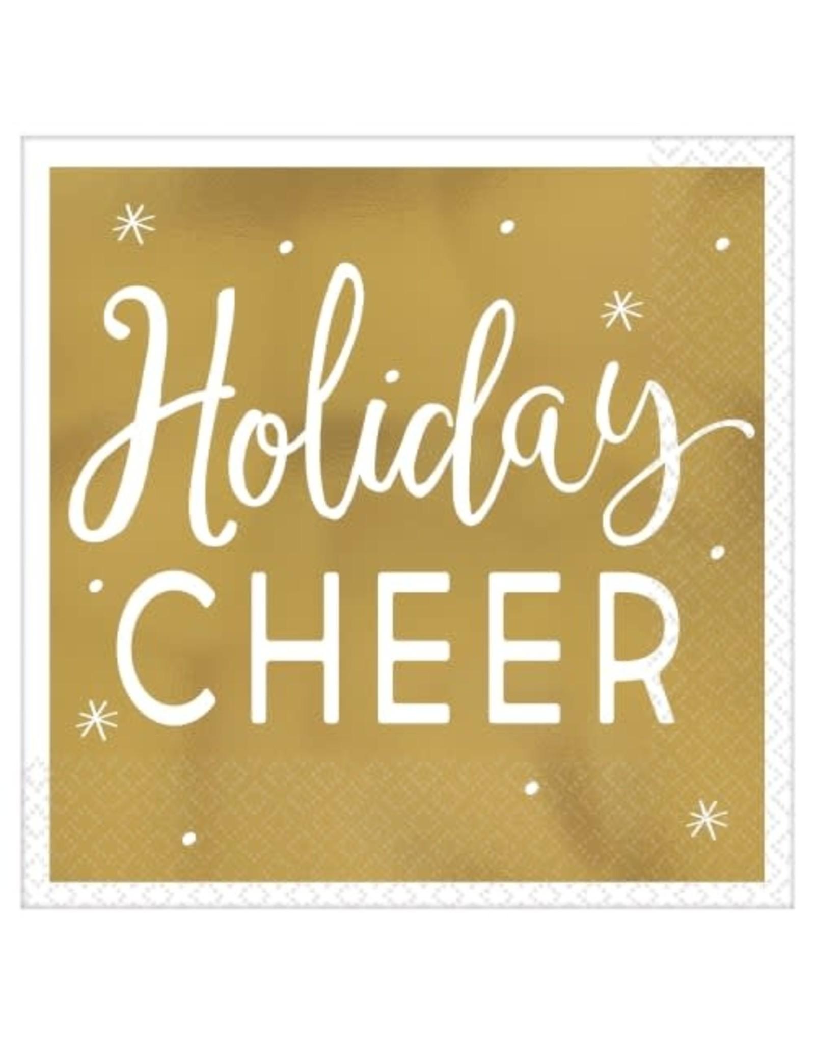 Holiday Cheer gold beverage napkin