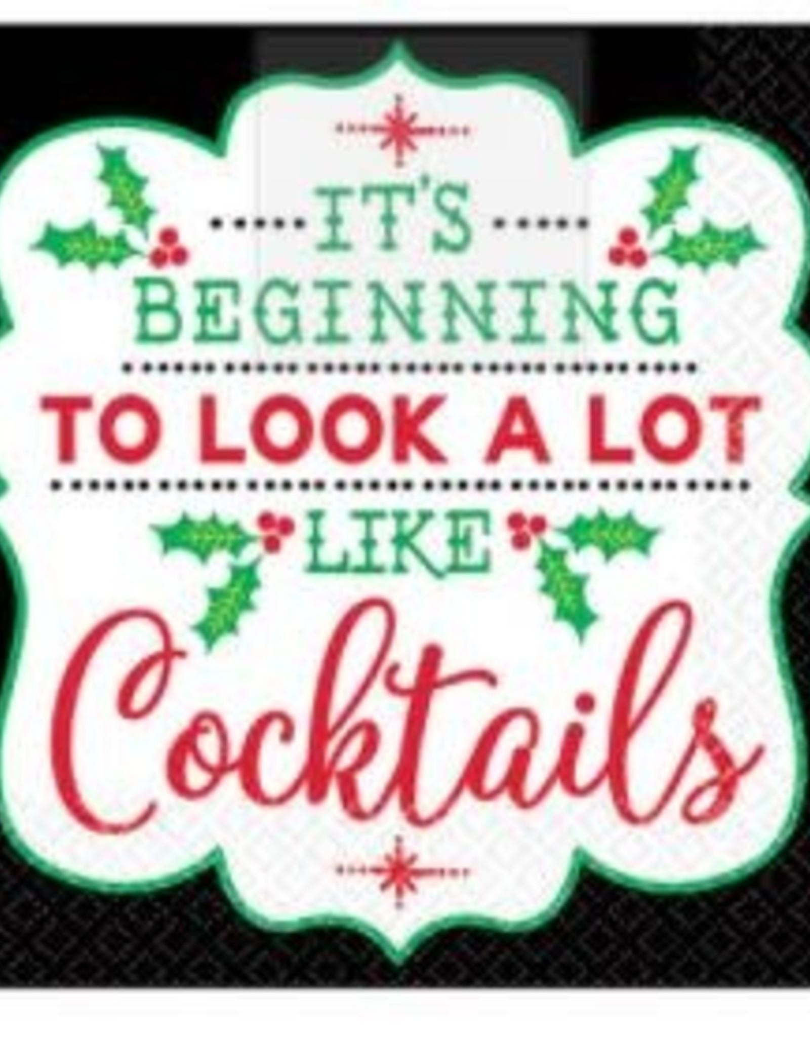 Christmas Cocktail Beverage Napkin