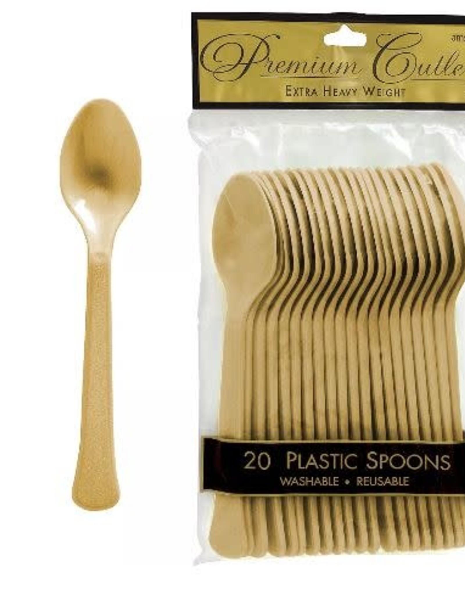 Gold Plastic Spoons 20pc