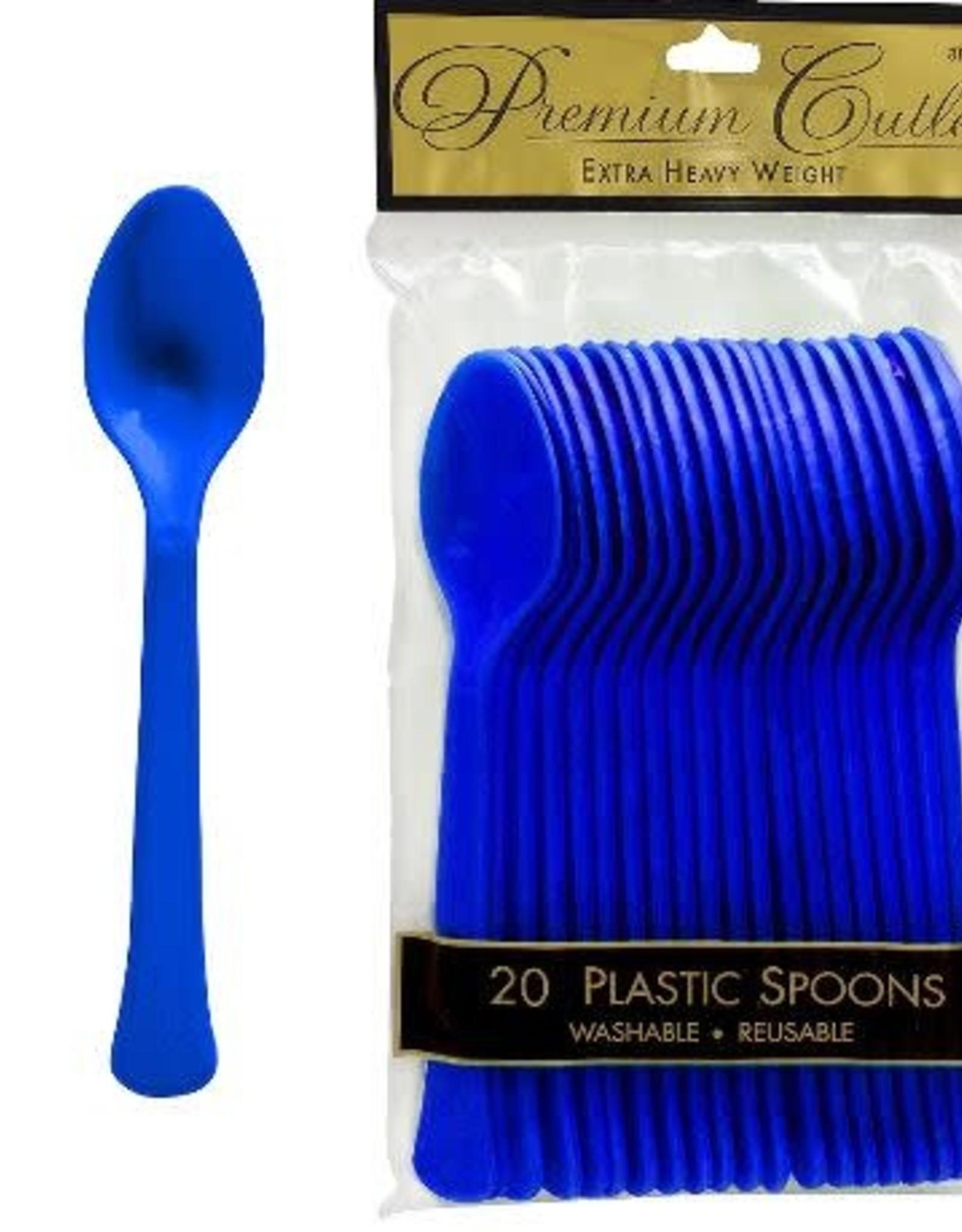 Royal Blue Plastic Spoons 20ct