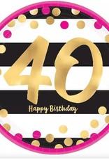"Metallic Pink & Gold 40th Birthday 9"" Paper Plates 8ct"
