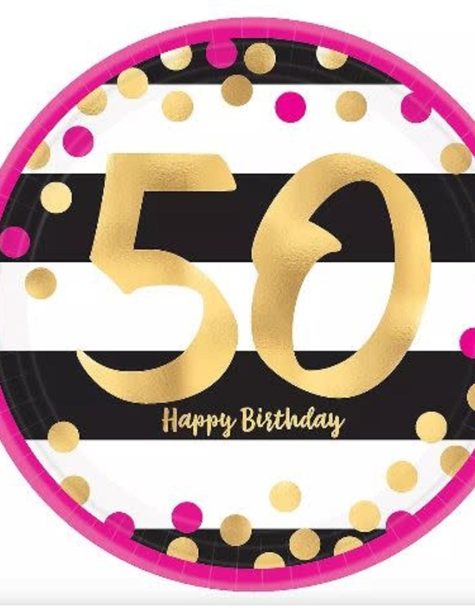 "Metallic Pink & Gold 50th Birthday 9 "" Paper Plates 8ct"