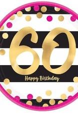 "Metallic Pink & Gold 60th Birthday 9"" Paper Plates 8ct"